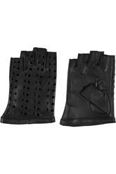 Karl Lagerfeld Cutout Leather Fingerless Gloves Black