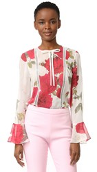 Giambattista Valli Long Sleeve Blouse White Red