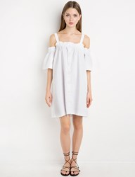 Pixie Market White Linen Off The Shoulder Dress