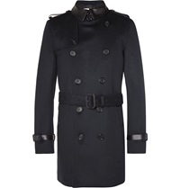 Burberry Leather Trimmed Wool And Cashmere Blend Trench Coat Blue
