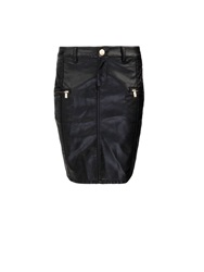 Morgan Straight Dual Fabric Rock Skirt Black