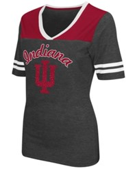 Colosseum Women's Indiana Hoosiers Twist V Neck T Shirt Charcoal Cardinal Red
