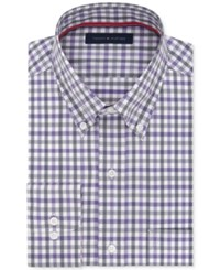 Tommy Hilfiger Men's Big And Tall Classic Fit Non Iron Purple Check Dress Shirt