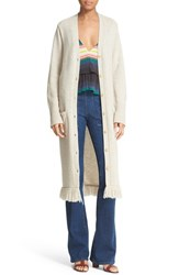 Apiece Apart Women's Long Fringed Cotton And Cashmere Button Cardigan