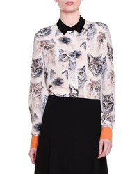Stella Mccartney Long Sleeve Cat Print Silk Blouse White Black