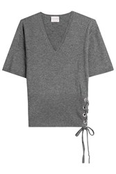 Claudia Schiffer Wool And Cashmere Top With Lace Up Side Grey