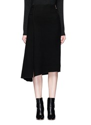 Mo And Co. Edition 10 Mock Wrap Woven Wool Skirt Black