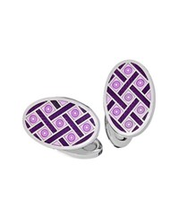 Jan Leslie Crisscross And Dot Enameled Oval Cuff Links Purple