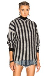 Alexander Wang T By Fringe Hem Hoodie In Gray Stripes Gray Stripes