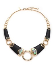 Alexis Bittar Sport Deco Lucite And Black Mother Of Pearl Liquid Ring Bib Necklace Gold Black
