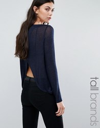 Vero Moda Tall Open Back Jumper Navy With Black Multi