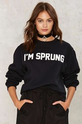 Private Party I'm Sprung Graphic Sweatshirt Black