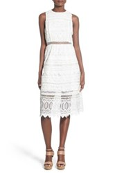 J.O.A. Lattice Embroidered Midi Dress White