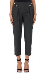 Maison Mayle Women's Wool Twill Pleated Front Trousers Green