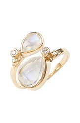 Women's Anzie 'Coralia' Semiprecious Stone And Diamond Ring White Yellow Gold