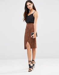 Tfnc Faux Suede Wrap Skirt Brown