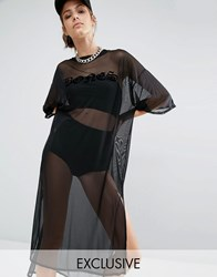 Bones Oversized Boxy Sheer Mesh T Shirt Dress Black