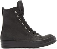 Rick Owens Black Coated Canvas High Top Sneakers