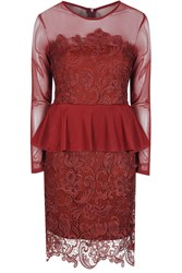 Alice And You Lace Overlayer Peplum Dress Burgundy