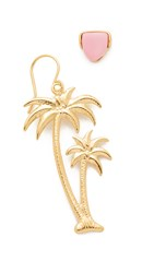 Wouters And Hendrix Palm Tree And Pink Post Earrings Gold Pink