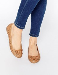 Miss Kg Nelson Cut Out Ballet Flats Tan Synthetic