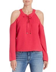 Buffalo David Bitton Lace Up Cold Shoulder Top Ultra Pink