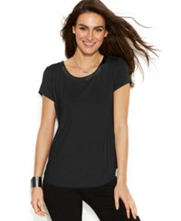 Alfani Short Sleeve High Low Tee Black