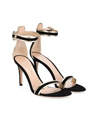 Gianvito Rossi Suede Ankle Strap Sandals Black Metallic Gold