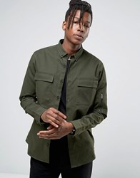 Only And Sons Overshirt Jacket With Arm Detail Khaki Green