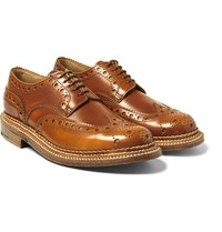 Grenson Archie Triple Welted Polished Leather Wingtip Brogues Tan