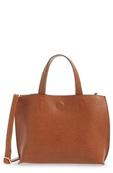 Street Level Reversible Faux Leather Crossbody Mini Tote And Wristlet Brown Cognac