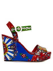Dolce And Gabbana Carretto Print Wide Strap Wedges