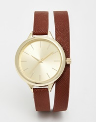 New Look Double Wrap Watch Brown