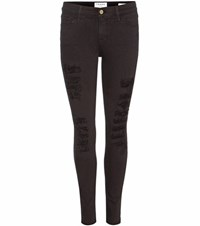 Frame Le Color Ripped Skinny Jeans Black