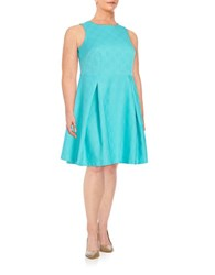 London Times Plus Pleated Fit And Flare Dress Aqua