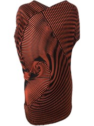 Issey Miyake Pleated Spiral Tank Yellow And Orange