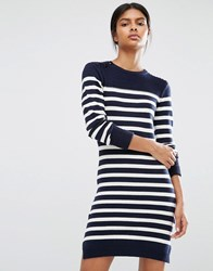 Y.A.S Sida Long Sleeve Knit Dress Navy Stripe