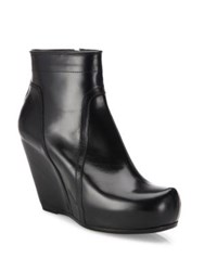 Rick Owens Classic Leather Wedge Platform Booties Black
