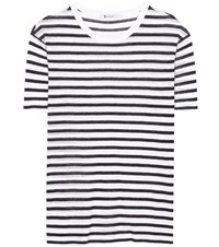 Alexander Wang Striped Linen Blend T Shirt White