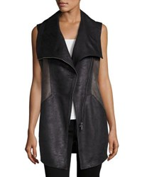 Raison D'etre Two Tone Faux Suede Vest Charcoal B