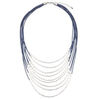 John Lewis Multi Strand Cord Tube Beads Necklace Blue Silver