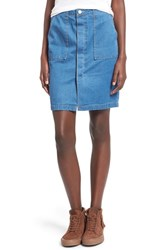 Junior Women's Fire Porkchop Pocket Denim Skirt