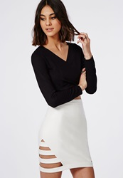 Missguided Cage Side Faux Leather Mini Skirt White White