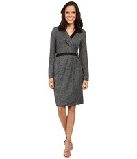 Adrianna Papell Cross Draped Long Sleeve Dress Heather Black Women's Dress