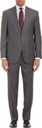 Barneys New York Shadow Stripe Two Button Suit Grey