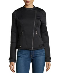 John And Jenn Neoprene Moto Jacket With Quilted Detail Caviar