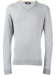 Hackett V Neck Sweater Grey