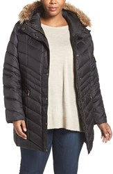 Andrew Marc New York Plus Size Women's 'Renee' Chevron Quilted Coat With Faux Fur Trim Hood Black
