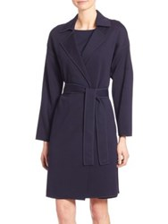 St. John Milano Knit Belted Coat Navy Russian Red
