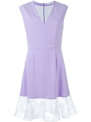 Carven Lace Trim Dress Pink And Purple